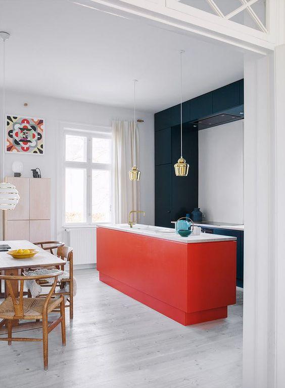 dry ktichen, white floor, red island, white wall, white ceiling, white wall, golden pendants, dark green frame, white counter top