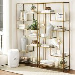 Golden Yellow Metal Shelves With Glass Board, Wooden Floor, Brown Rug, White Stool