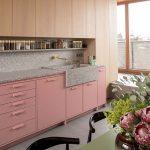 Kitchen, Grey Floor, Pink Cabinet, Wooden Upper Cabinet, Grey Backsplash, Green Dining Table