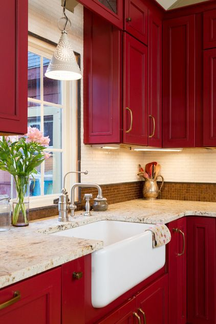 kitchen, marble counter top, red upper cabinet, red bottom cabinet