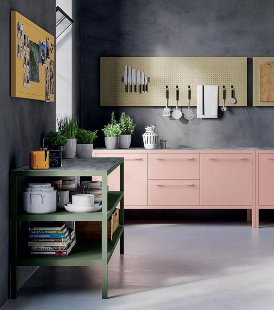 kitchen, seamless grey floor, grey wall, pink bottom cabinet, magnetic board, green shelves, yellow board