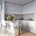 Kitchen, White Cabinet, Grey Backsplash, Wooden Counter Top, Island, White Modern Stools, Wooden Hexagonal Floor Tiles, Glass Pendant