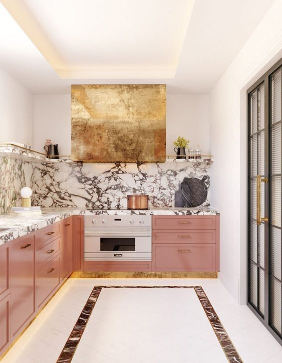 kitchen, white floor, pink wooden bottom cabinet, marble backsplash, white wall, golden cover