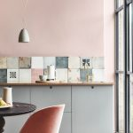 Kitchen, Wooden Floor, Grey Bottom Cabinet, White Pendant, Black Round Tulip Table, Pink Chair