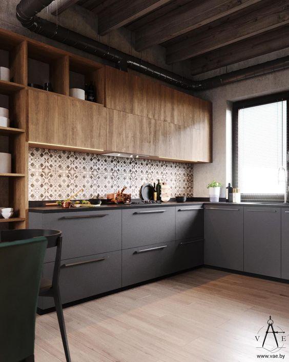 kitchen, wooden floor, white wall, brown patterned backsplash, wooden upper cabinet, black bottom cabinet, black marble top