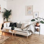 Living Room, Wooden Floor, White Wall, White Ceiling, White Sofa, Golden Coffee Table, Brown Rattan Round Rug