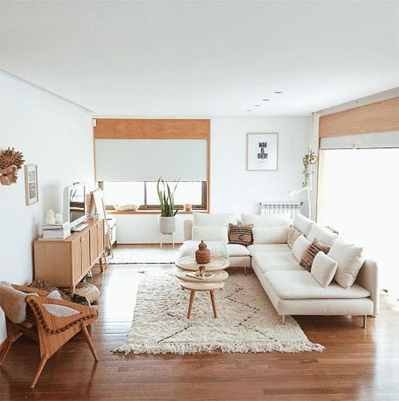 living room, wooden floor, white wall, wooden cabinet, white sofa, white rug, brown chair