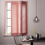 Pink Wooden Windows Shutters, White Wall, Metal Geometrical Pendant, Black Wooden Table, Black Metal Shair With Wooden Seat