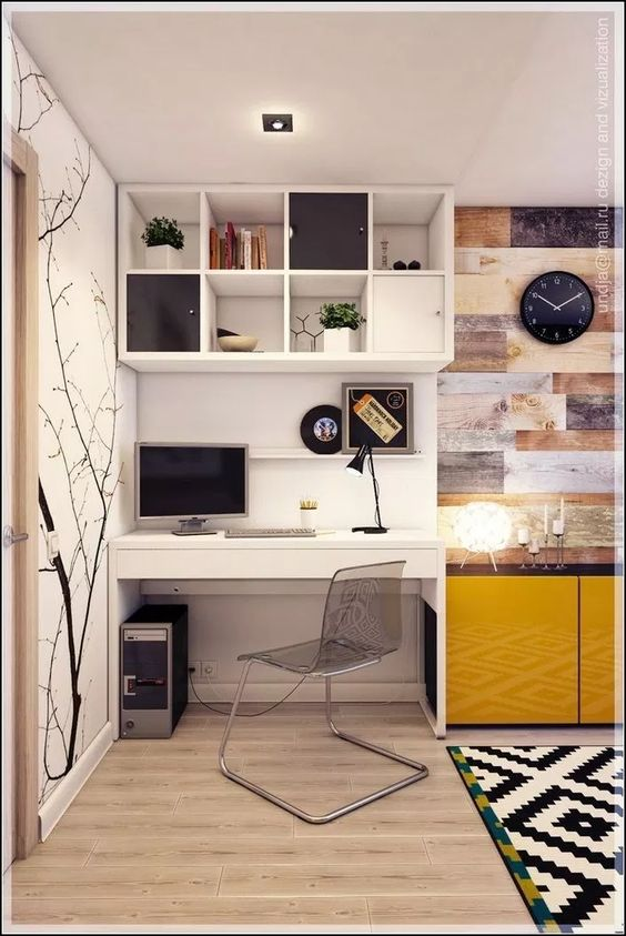study, wooden floor, white wall, white floating shelves, yellow cabinet, patterned rug