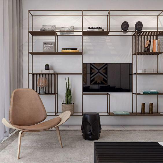 thin metal floating shelves, black rug, black screen