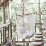 White Cloth Hammock Chair, Wooden Floor, Wooden Stools, Balcony