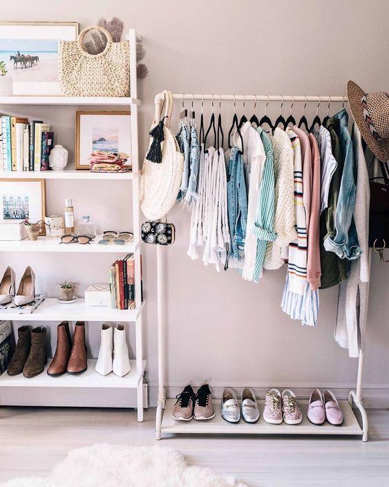 white metal rack, white wall, white wall mounted shelves