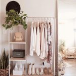 White Metal Rack, Wooden Floor, Wooden Boards, White Wall, Tall Mirror