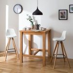 Wooden Tall Table, Tall Modern Midcentury Stool, Black Pendant, White Wall, Wooden Floor