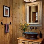 Wooden Vanity Cabinet, Wooden Wall, White Mirror, Pendant, Metal Sink