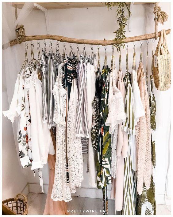 wooden wardrobe rack, board mounted
