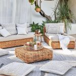 Woven Rattan Low Sofa, Woven Rattan Low Coffee Table, Grey Rug, Grey Pillows