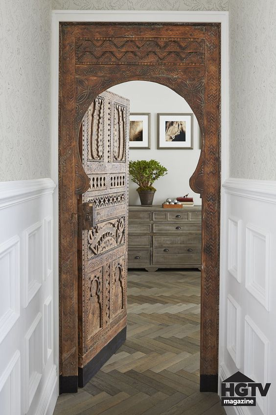 arch, dark wooden arch, wooden door, herringbone floor, wooden cabinet