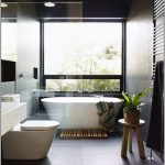 Bathroom, Black Floor, Blac Kwall, White Tub, Glass Window, Wooden Stool, White Toilet, White Vanity