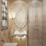 Bathroom, Cream Foor, Cream Patterned Wall Details, Glitter Wall Tiles, White Toilet, White Sink, White Round Mirror, Silvery Indented Shelevs