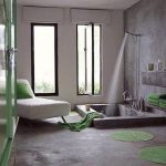 Bathroom, Grey Floor, Grey Wall, Glass Window, Indented Tub On The Floor, White Lounge Chair, Green Rug