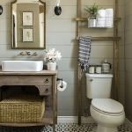 Bathroom, Patterned Floor Tiles, Brown Wooden Planks, White Toilet, Wooden Vanity, White Sink