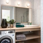 Bathroom, Tiny Wall Tiles, Wooden Vanity, White Sink, Laundry Machine, Three Sconces