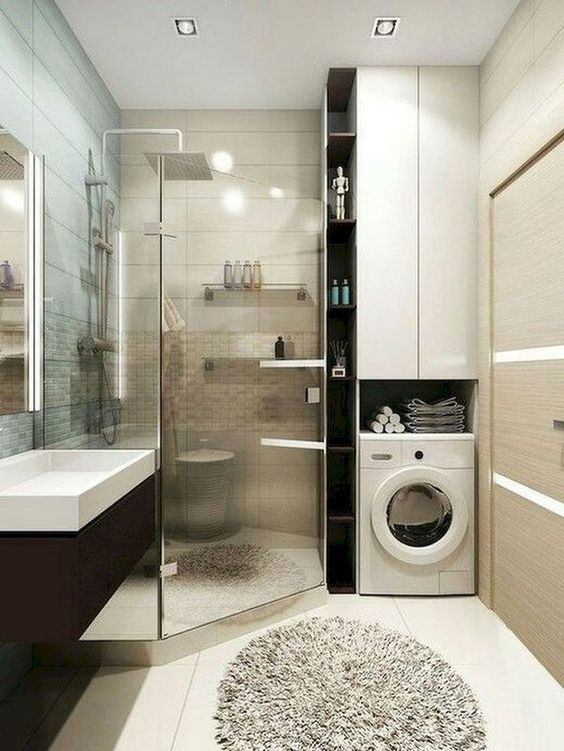 bathroom, white floor, brown wall, glass partition, round rug, white cupboard, black floating vanity with white sink