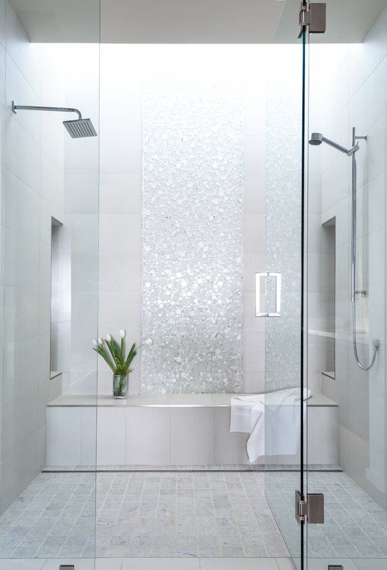 bathroom, white floor tiles, white wall tiles, glitter accent on the wall, shower, bench