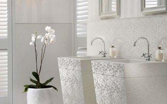 bathroom, white marble floor, white wall, detailed white backsplash and vanity sink, white striped wall, chandelier