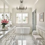 Bathroom, White Marble Floor, White Wall, White Bench, White Tub, Crystal Chandelier, White Cabinet, Glass Window