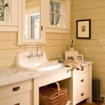 Bathroom, White Wooden Planks, Wooden Floor Planks, White Cabinet, White Marble Top, White Sink, Patterned Rug