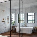 Bathroom, Wooden Floor, White Marble Wall, Glass Window, White Tub, Brass Faucet