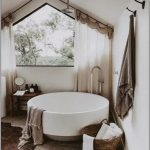 Bathroom, Wooden Floor, White Wall, White Round Tub, White Curtain, Triangle Window,