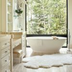 Bathroom, Wooden Floor, White Wall, White Vanity Table, Shelves, White Bowl Tub, Glass Window