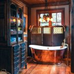 Bathroom, Wooden Floor, Wooden Ceiling, Dark Wooden Cabinet, Copper Tub, Woooden Parttion, Copper Chandelier