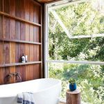 Bathroom, Wooden Wall, Wooden Ceiling, Wooden Floor, White Tub, Large Glass Window