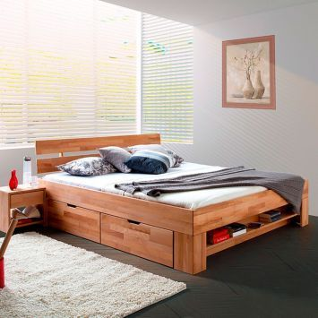 bed platform, wooden material, black floor, grey wood, cream rug, white bedding