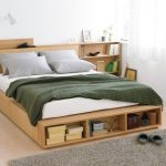 Bed Platform, Wooden Material, Shelves, Drawers, Side Shelves, White Bedding, White Table Lamp