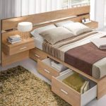 Bed Platform, Wooden Material, Side Table, Drawers, White Floor,