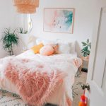 Bedroom, Rug, White Bedding, Pink Fur, White Wall, Rattan Pendant