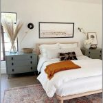Bedroom, Wooden Floor, Patterned Rug, White Wall, Wooden Platform, Mint Green Bedside Cabinet