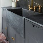 Black Marble Sink, Black Marble Counter Top, Black Cabinet, Red Hexagonal Brick