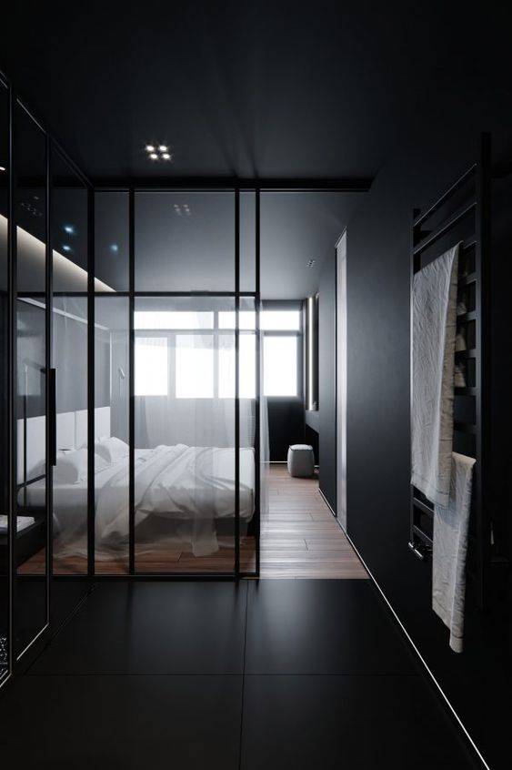 black wall, black floor, wooden floor, white bed, glass parition