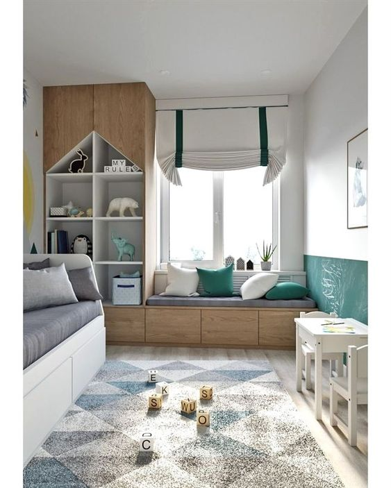 children's bedroom, white wall, green wall, wooden bench with drawers, wooden cupboard and shelves, white bed platform with drawers, grey cushion
