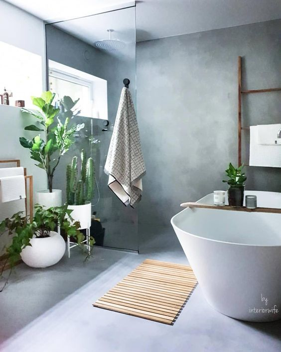 concrete floor, concrete wall, glass partition, white tub, plants, wooden rack