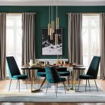 Dining Room, Green Wall, White Wainscoting, Green Velvet Chairs, Black Dining Table, Golden Pendants, Grey Rug