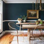 Dining Room, Wooden Floor, Dark Green Wall, White Line, Wooden Dining Table, Golden Chairs, Golden Chandelier