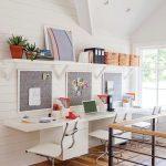 Dining Room, Wooden Floor, White Chair, White Shiplap, White Vaulted Ceiling, White Floating Shelves, Glass Window