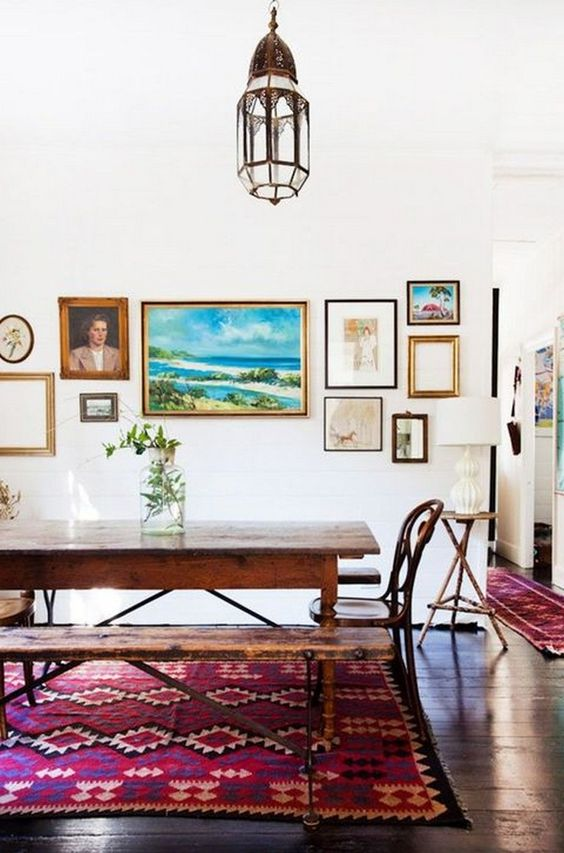 dining room, wooden floor, white wall, wooden table, wooden bench, wooden chairs, moroccan pendant